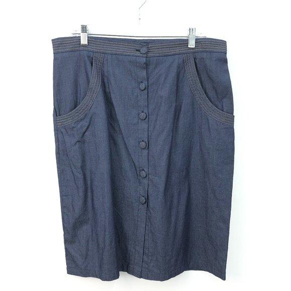 eShakti Blue Button Front Pocket Denim Midi Skirt